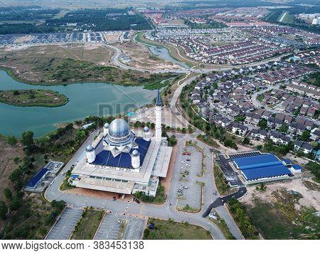 Kepala Batas, Penang/malaysia - Mar 15 2020: Aerial View Masjid Abdullah Fahim Near Housing Estate A