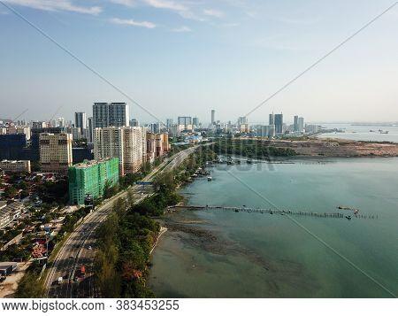 Georgetown, Penang/malaysia - Mar 17 2020: Aerial View Coastal At Jelutong In Morning.