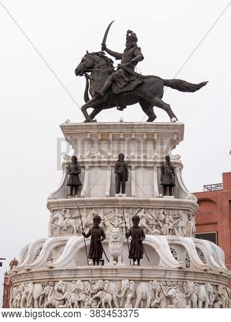 Amritsar, India - March 18, 2019: Side View Of The Statue Of Maharaja Ranjit Singh In Amritsar