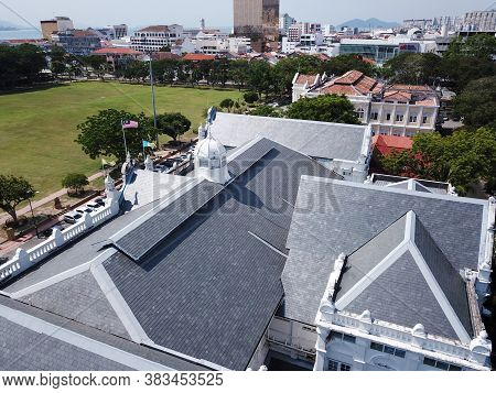 Georgetown, Penang/malaysia - Mar 17 2020: Aerial View Rooftop City Hall.