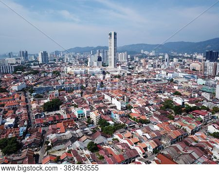 Georgetown, Penang/malaysia - Mar 17 2020: Georgetown Heritage City In Blue Sky.