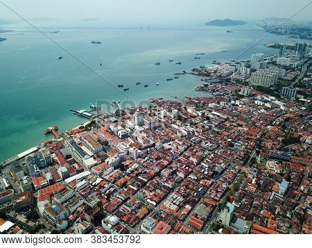 Georgetown, Penang/malaysia - Mar 17 2020: Aerial View Georgetown Old House.
