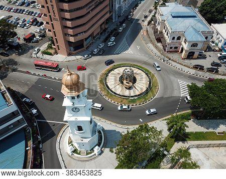 Georgetown, Penang/malaysia - Mar 17 2020: Jubilee Clock Tower Beside Roundabout.