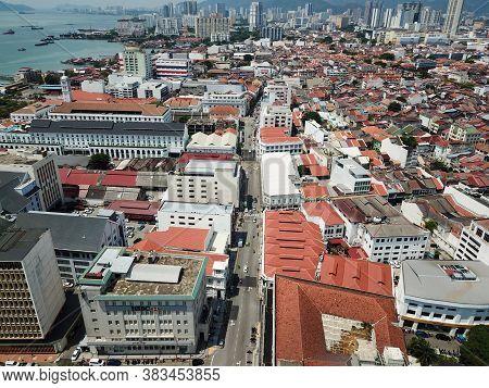 Georgetown, Penang/malaysia - Mar 17 2020: Aerial View Beach Street.