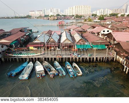 Georgetown, Penang/malaysia - Mar 21 2020: Aerial View Chew Jetty.