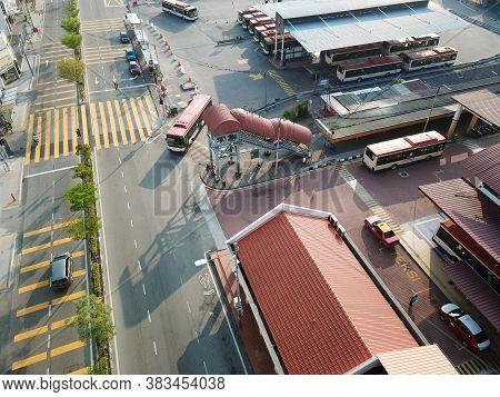 Georgetown, Penang/malaysia - Mar 21 2020: Aerial View Rapid Penang Bus Move At Pengkalan Weld.