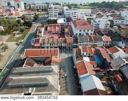 Georgetown, Penang/malaysia - Mar 21 2020: Aerial View Street Georgetown