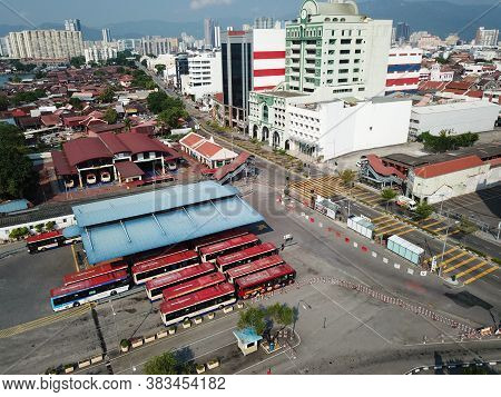 Georgetown, Penang/malaysia - Mar 21 2020: Aerial View Bus Station Rapid Penang At Pengkalan Weld.