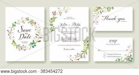 Wedding Invitation, Save The Date, Thank You, Rsvp Card Design Template. Vector. Summer Pink Flower.