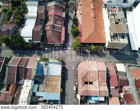 Georgetown, Penang/malaysia - Mar 21 2020: Aerial Look Down Junction Old Heritage House.