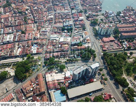 Georgetown, Penang/malaysia - Mar 21 2020: Aerial View Street At Heritage Georgetown.
