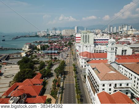 Georgetown, Penang/malaysia - Mar 21 2020: Aerial Top Down View No Car At Street. Government Impleme