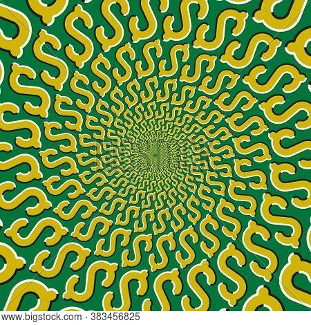Optical Motion Illusion Vector Background. Yellow Dollar Signs Move Around The Center On Green Backg