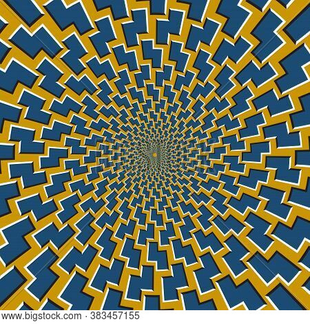 Optical Motion Illusion Vector Background. Blue Zigzag Shapes Move Around The Center On Golden Backg