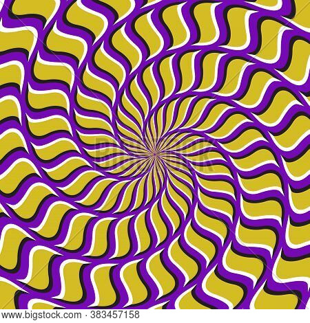 Optical Motion Illusion Vector Background. Yellow Purple Spiral Pattern Move Around The Center.