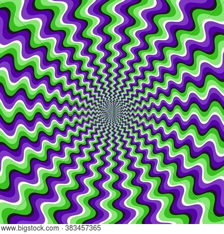 Optical Motion Illusion Vector Background. Green Purple Wavy Striped Pattern Move Around The Center.