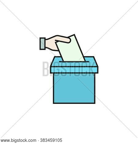 Vector Vote Cartoon Icon. Hand Putting Ballot Paper In The Voting Box. Election Illustration.