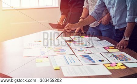 Business Concept. Business People Making Business Plan, Concept Of Technology And International Busi