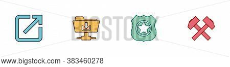 Set Open In New Window, Ftp Folder Download, Police Badge And Two Crossed Hammers Icon. Vector