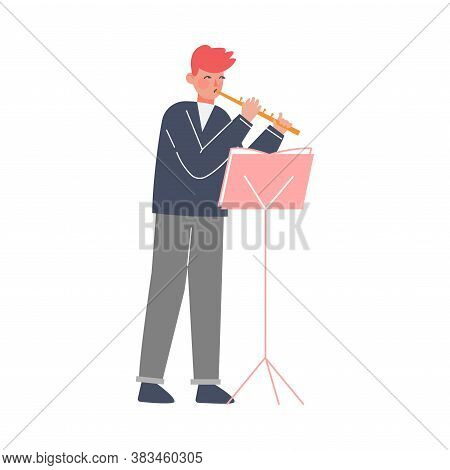 Man Musician Playing Flute, Classical Music Performer Character With Musical Instrument Flat Style V