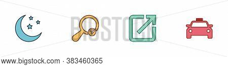 Set Moon And Stars, Unknown Search, Open In New Window And Taxi Car Icon. Vector