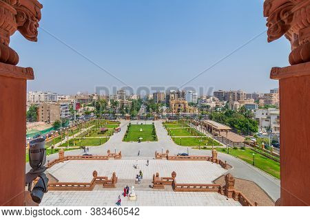 Cairo, Egypt- July 30 2020: View Of Garden Of Baron Empain Palace With Heliopolis District In The Fa