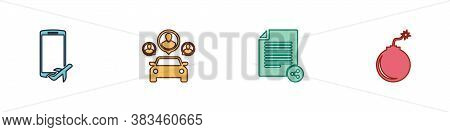 Set Flight Mode In The Mobile, Car Sharing, Share File And Bomb Ready To Explode Icon. Vector