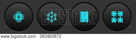 Set Processor Chip With Dollar, Blockchain Technology, Proof Of Stake And Icon. Vector