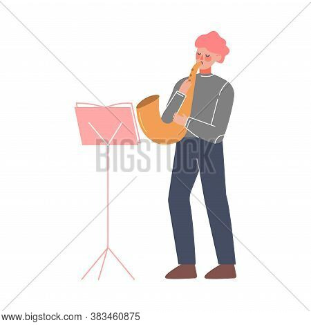 Man Musician Playing Wind Musical Instrument, Classical Music Performer Character With Musical Instr