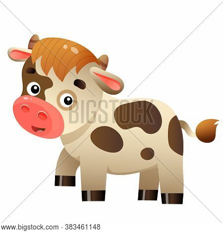 Color Image Of Cartoon Calf Or Kid Of Cow On White Background. Farm Animals. Vector Illustration For