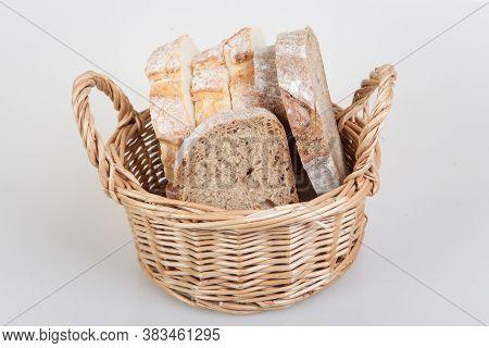 Slices Of Bread In Basket. White Bread