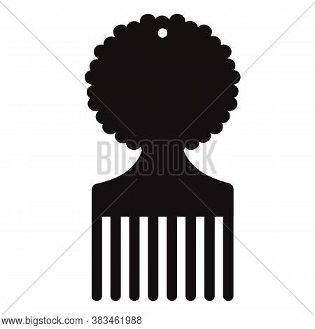 Afro Pick Icon On White Background. Afro Hairbrush Sign. Afro Comb Symbol. Flat Style.