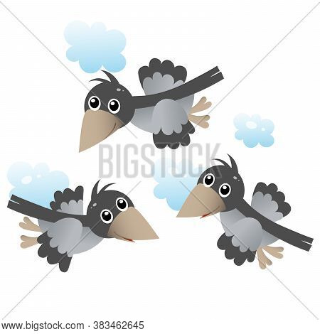 Color Image Of Cartoon Flock Of Crows In The Sky On White Background. Birds. Vector Illustration For