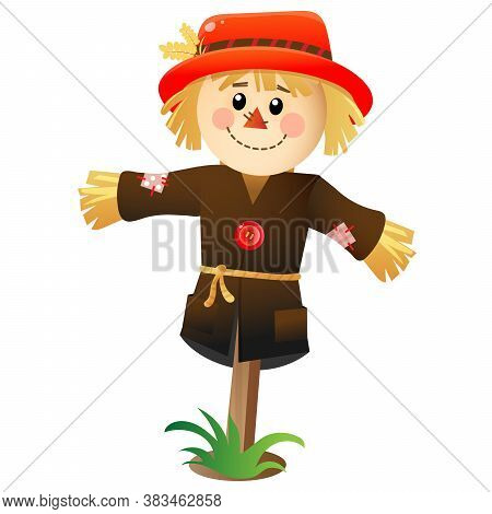 Color Image Of Cartoon Stuffed Or Scarecrow On White Background. Vegetable Garden. Vector For Kids.