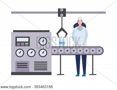 Dairy Production Factory With Working Woman Flat Vector Illustration Isolated.