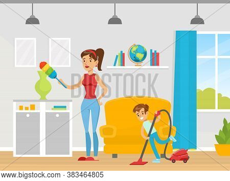 Family Cleaning House Together, Mom Holding Feather Duster, Boy Cleaning The Floor With Vacuum Clean