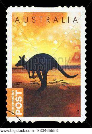 Australia - Circa 2014: A Used Postage Stamp From Australia, Depicting A Silhouette Of A Kangaroo, C