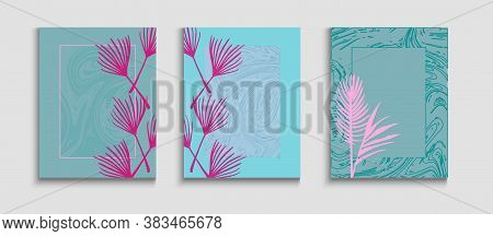 Abstract Asian Vector Flyers Set. Hand Drawn Vintage Background. Geometric Border Texture. Tie-dye,
