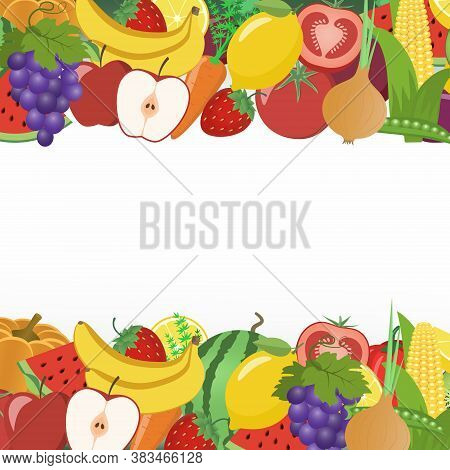 Vegetables And Fruits In A Frame. Watermelon, Pumpkin, Carrot, Tomato, Apple, Onion, Eggplant, Banan