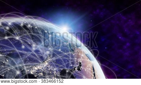 Global Network Modern Creative Telecommunication And Internet Connection. Concept Of 5g Wireless Dig