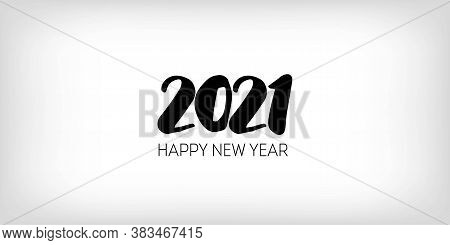 Black And White 2021 Border Happy New Year Banner Design. Graphic 2021 Icon Pattern. Winter Holiday