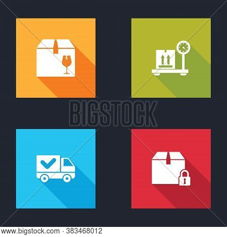 Set Delivery Box With Fragile Content, Scale Cardboard, Truck Check Mark And Locked Package Icon. Ve