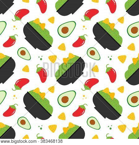 Mexican Guacamole Dip In Bowl With Avocados, Chili Peppers And Nacho Chips Vector Seamless Pattern B