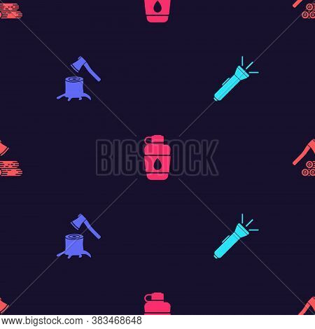 Set Flashlight, Wooden Axe In Stump, Canteen Water Bottle And And Wood On Seamless Pattern. Vector