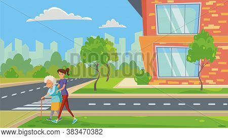 Woman Takes Care Of Old Woman To Help Him Cross The Road In The City . Flat Illustration Of Elderly