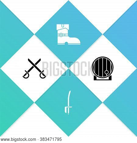 Set Crossed Pirate Swords, Pirate, Leather Boots And Wooden Barrel Icon. Vector