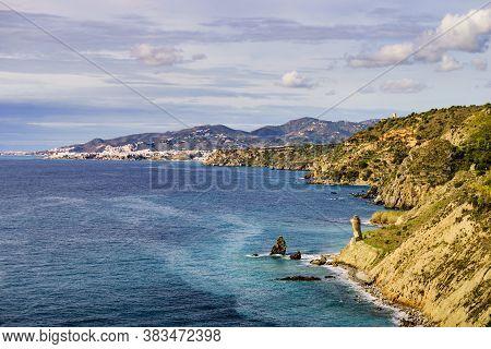 Spanish Coast Landscape In Andalucia. Cliffs Of Maro Cerro Gordo Natural Park, Near Maro And Nerja,