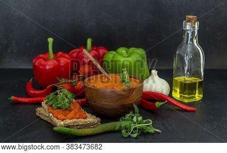 Selective Focus Of Serbian Roasted Red Pepper Sauce Ajvar. Traditional Autumn Balkan Relish.