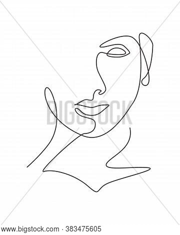 One Single Line Drawing Woman Beauty Abstract Face, Hairstyle,  Fashion Vector Illustration. Pretty