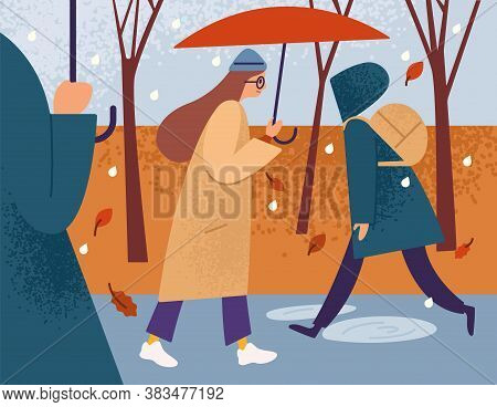 Girl With Umbrella Walking Alone In The Street Among Hurrying Passersby In The Autumn Rain. Single W
